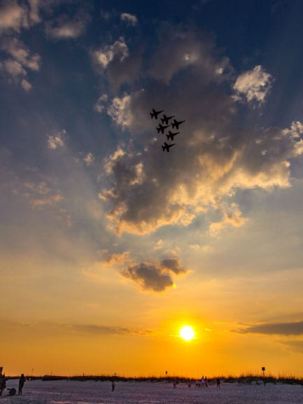 Blue Angels Return at Sunset