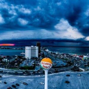 Panoramic Beach Ball Storm
